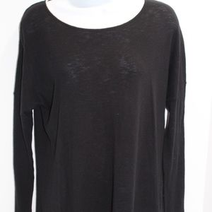 Vince black tunic sweater light knit scoop neck XS